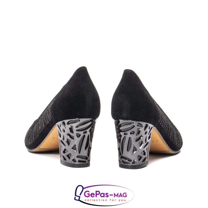 Pantofi dama cu toc mediu din piele naturala de antilopa , EP8563T 6