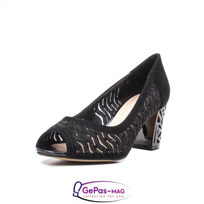 Pantofi dama cu toc mediu din piele naturala de antilopa , EP8563T 0