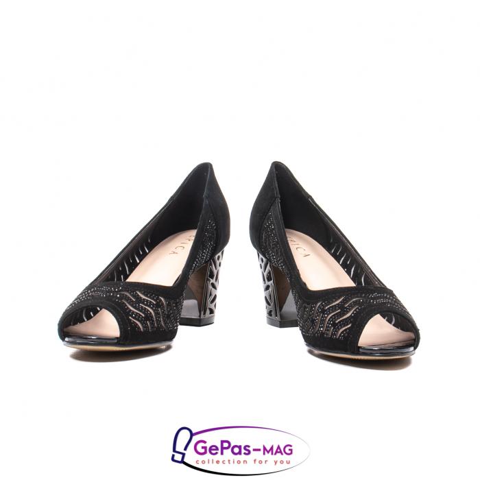 Pantofi dama cu toc mediu din piele naturala de antilopa , EP8563T 4