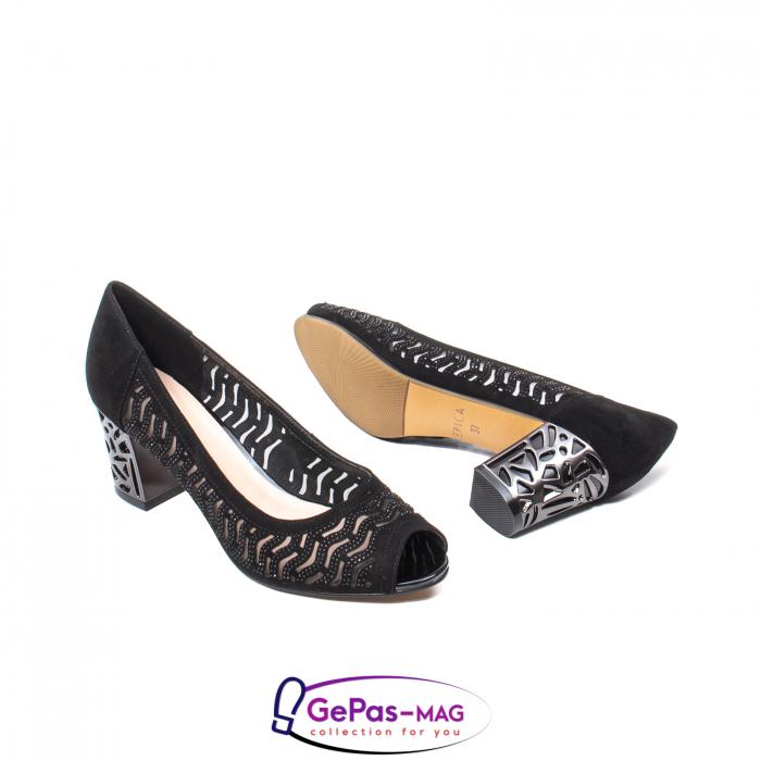 Pantofi dama cu toc mediu din piele naturala de antilopa , EP8563T 3