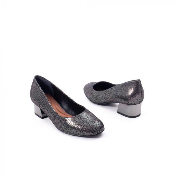 Pantofi eleganti dama, piele naturala, Epica 8750, gri metal 2