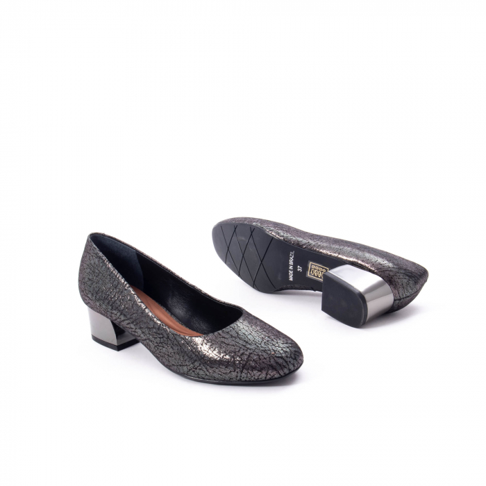 Pantofi eleganti dama, piele naturala, Epica 8750, gri metal 3