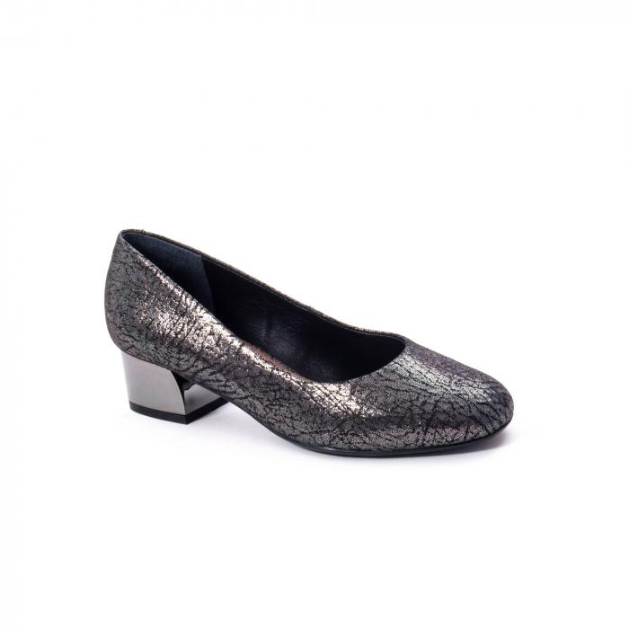 Pantofi eleganti dama, piele naturala, Epica 8750, gri metal 0