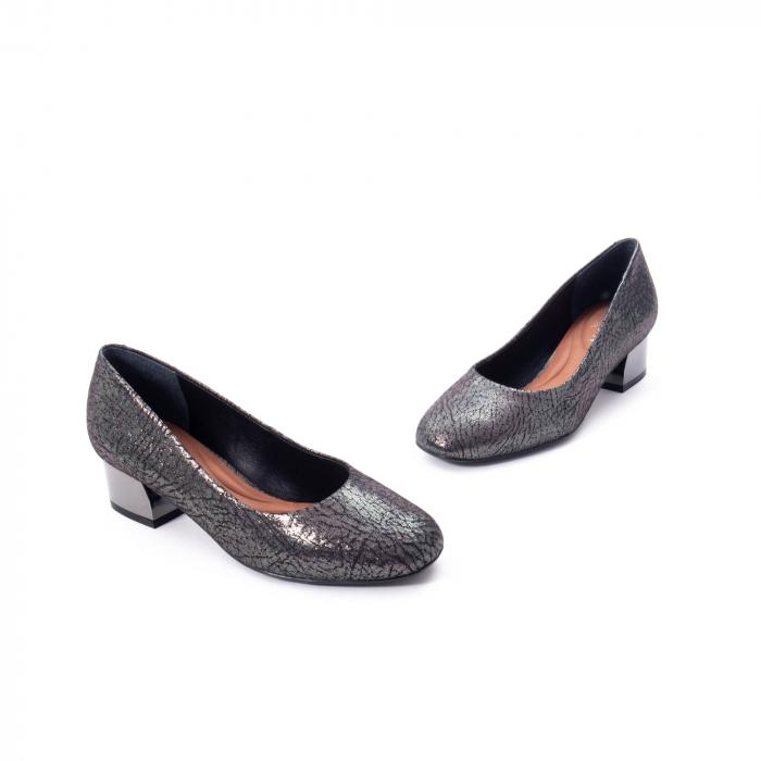 Pantofi eleganti dama, piele naturala, Epica 8750, gri metal 1