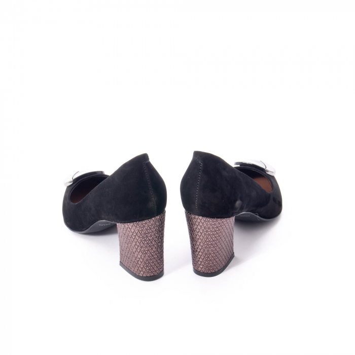Pantofi eleganti dama, piele naturala, Epica 9628, negru nubuc 6