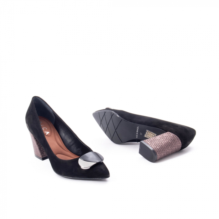 Pantofi eleganti dama, piele naturala, Epica 9628, negru nubuc 3