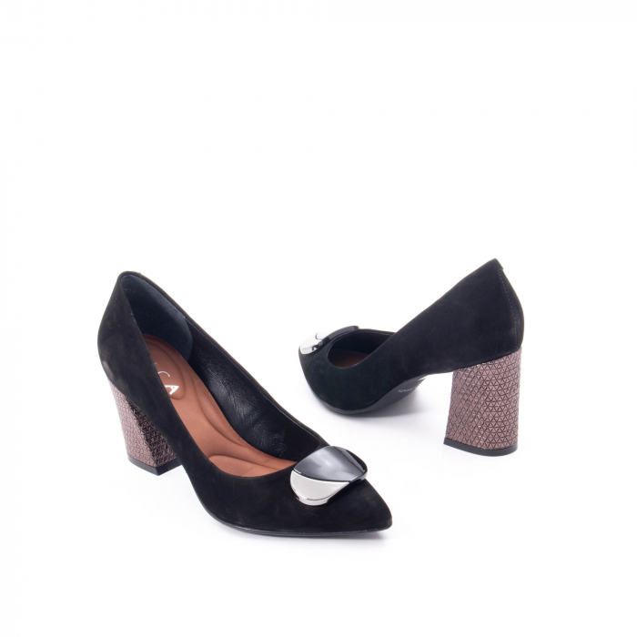 Pantofi eleganti dama, piele naturala, Epica 9628, negru nubuc 2