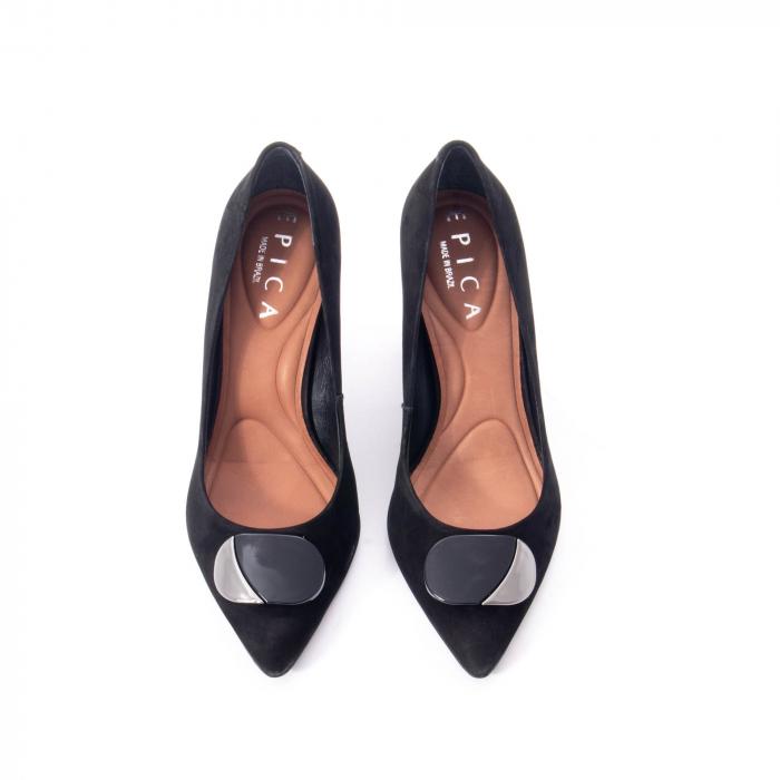 Pantofi eleganti dama, piele naturala, Epica 9628, negru nubuc 5