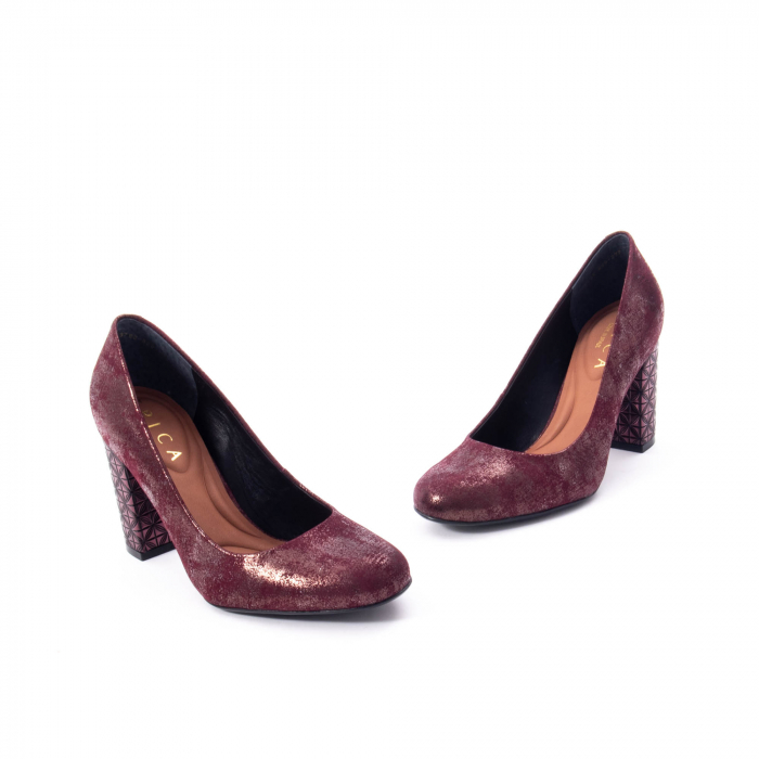 Pantofi eleganti dama, piele naturala, Epica 9766 bordo nubuc 2