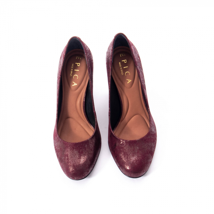 Pantofi eleganti dama, piele naturala, Epica 9766 bordo nubuc 3