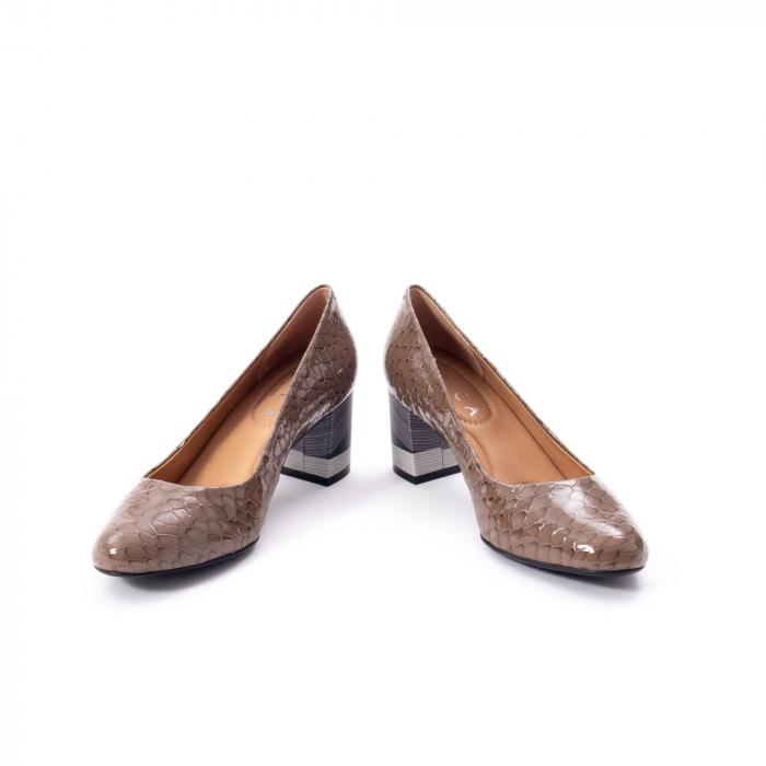 Pantofi eleganti dama piele naturala lacuita, Epica 9690 taupe 4
