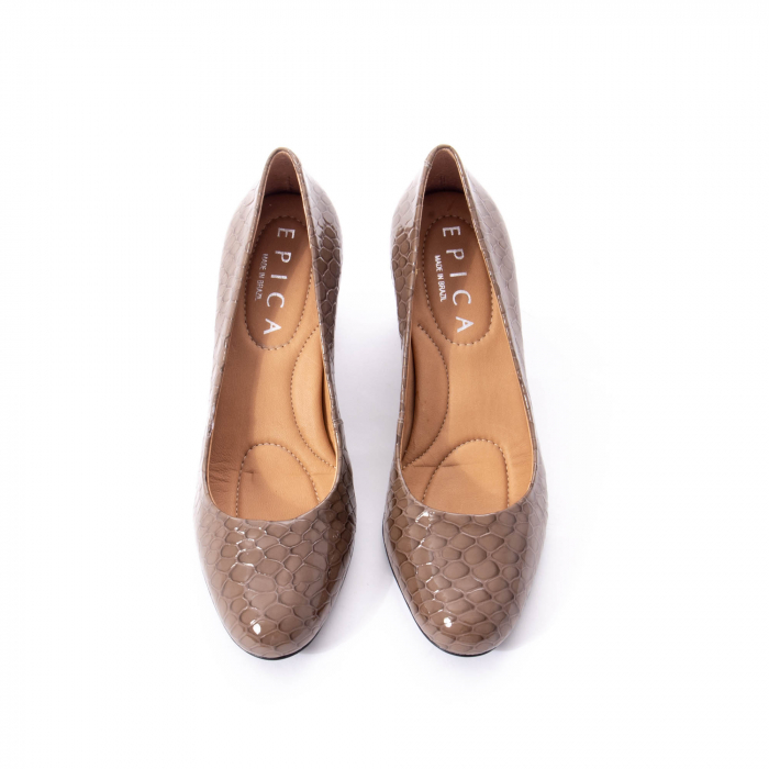Pantofi eleganti dama piele naturala lacuita, Epica 9690 taupe 5