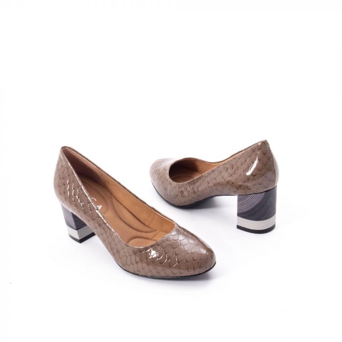 Pantofi eleganti dama piele naturala lacuita, Epica 9690 taupe 2