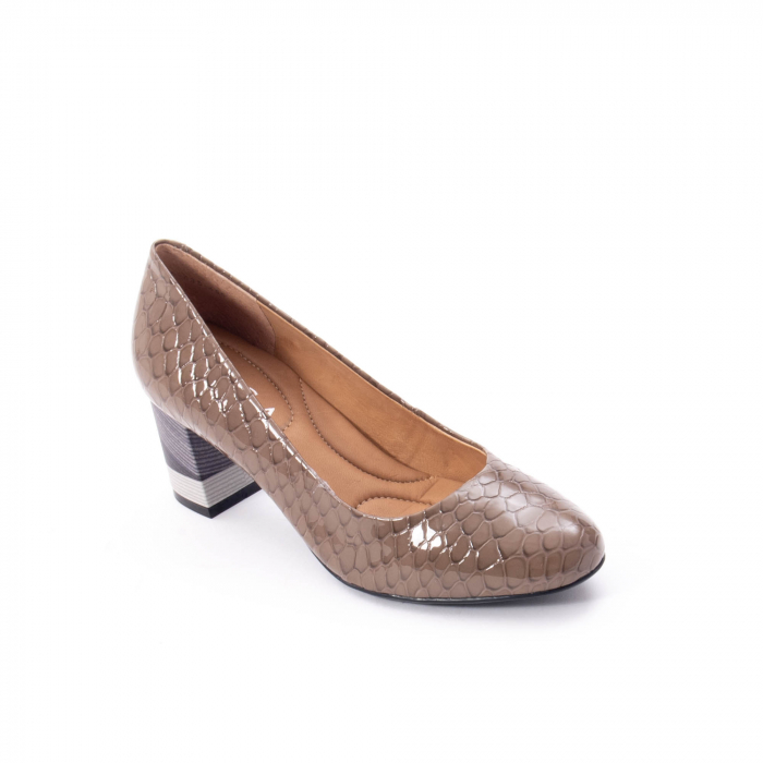 Pantofi eleganti dama piele naturala lacuita, Epica 9690 taupe 0