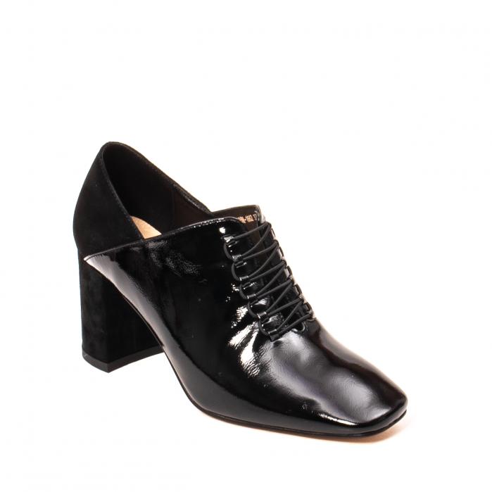 Pantofi eleganti dama, piele naturala lacuita, F82546A N 0
