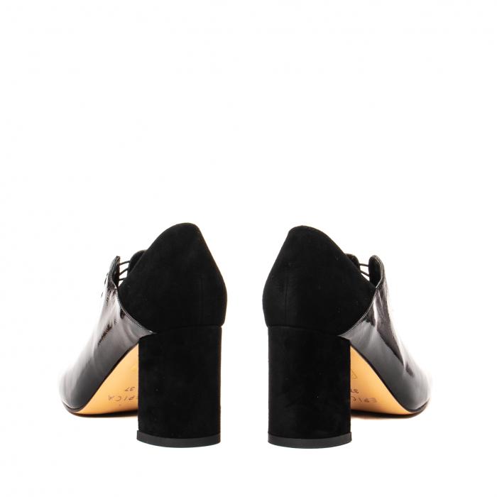 Pantofi eleganti dama, piele naturala lacuita, F82546A N 6