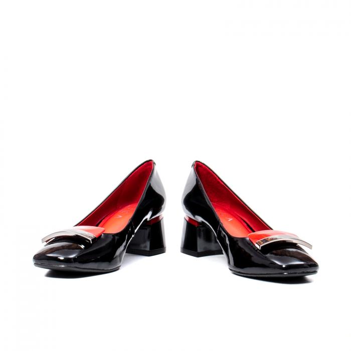 Pantofi eleganti dama cu toc mediu din piele naturala lacuita, OE2061 4
