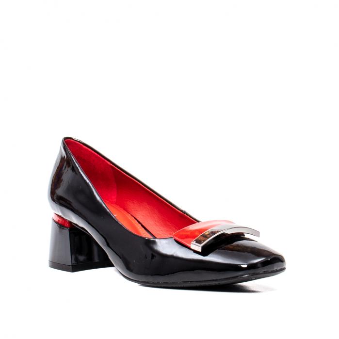 Pantofi eleganti dama cu toc mediu din piele naturala lacuita, OE2061 0
