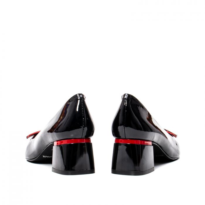 Pantofi eleganti dama cu toc mediu din piele naturala lacuita, OE2061 6