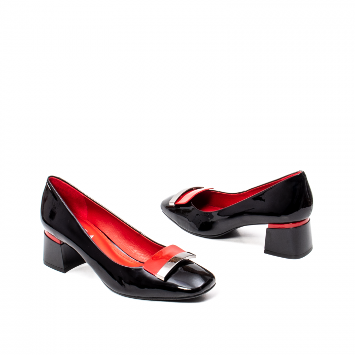 Pantofi eleganti dama cu toc mediu din piele naturala lacuita, OE2061 2