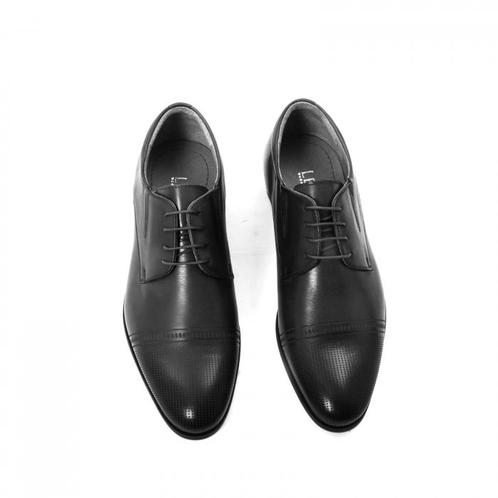 Pantofi eleganti de barbati piele naturala Leofex 522, negru 3