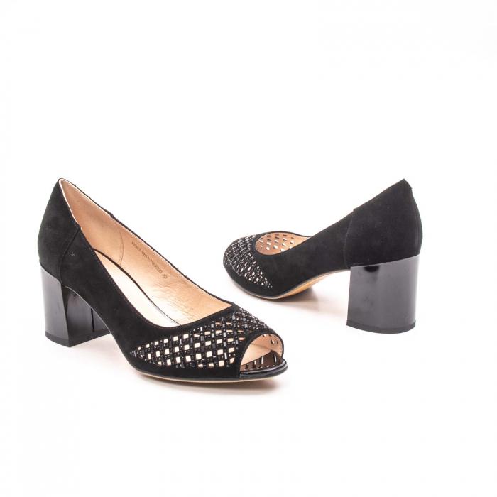 Pantofi eleganti de vara, piele naturala nubuc jixy553, negru 2
