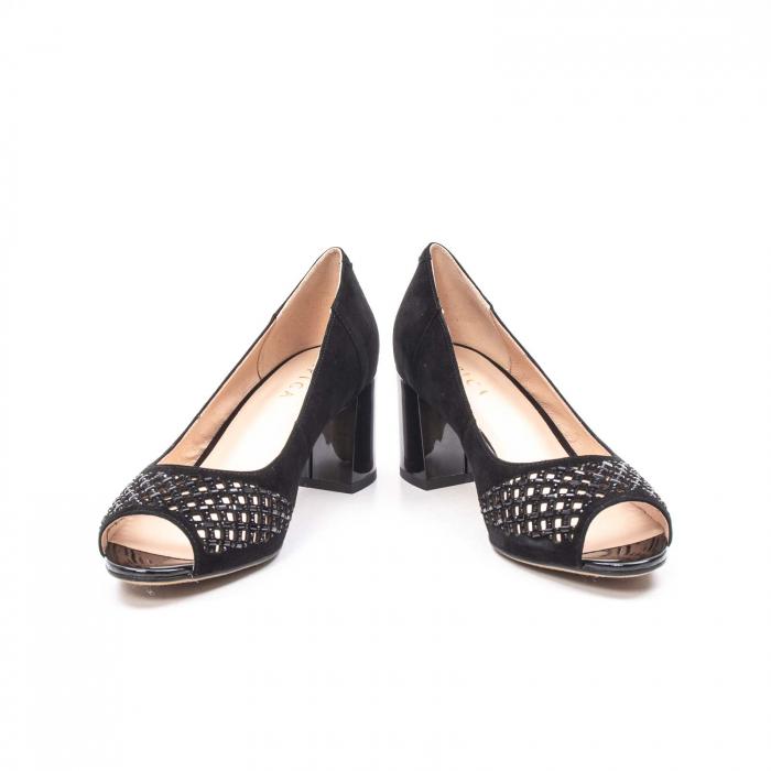 Pantofi eleganti de vara, piele naturala nubuc jixy553, negru 4