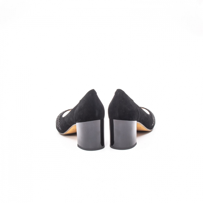 Pantofi eleganti de vara, piele naturala nubuc jixy553, negru 6