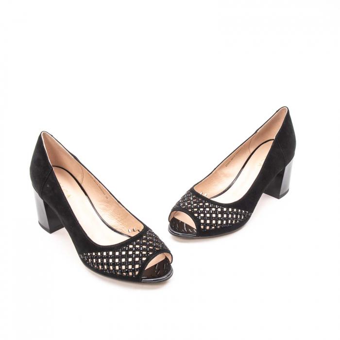 Pantofi eleganti de vara, piele naturala nubuc jixy553, negru 1