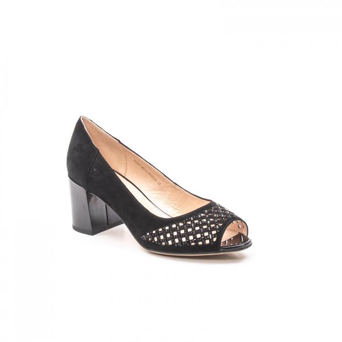 Pantofi eleganti de vara, piele naturala nubuc jixy553, negru 0