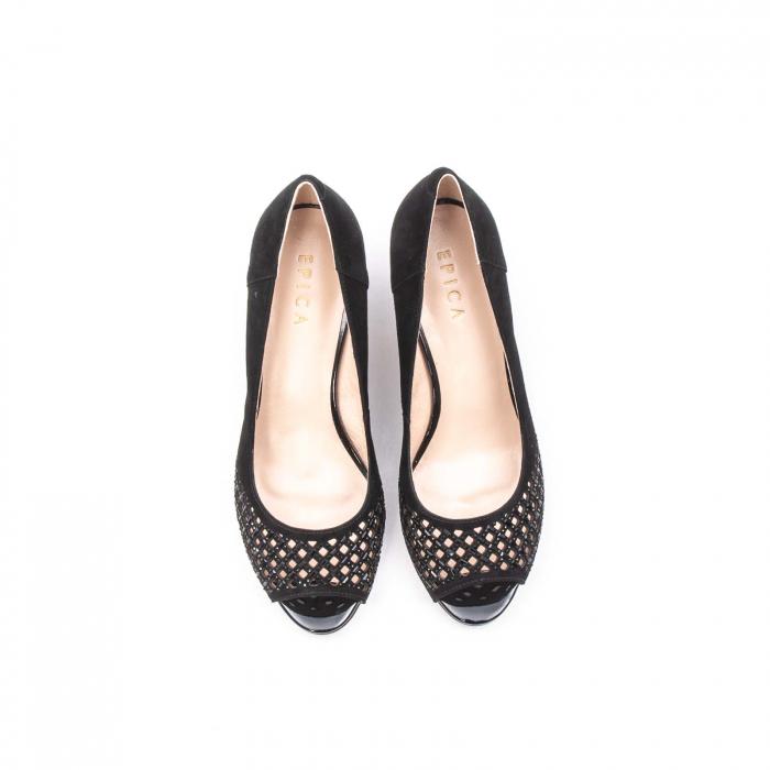 Pantofi eleganti de vara, piele naturala nubuc jixy553, negru 5