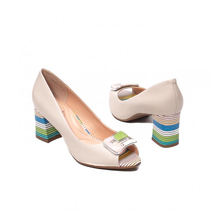 Pantofi eleganti decupati, piele naturala, OE10137 [2]