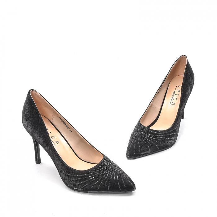 Pantofi dama eleganti Wedding din piele naturala, Ep B01568-3603D-A827, negru 1