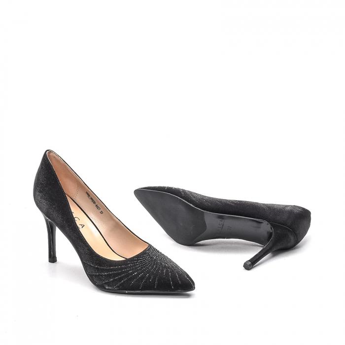Pantofi dama eleganti Wedding din piele naturala, Ep B01568-3603D-A827, negru 3