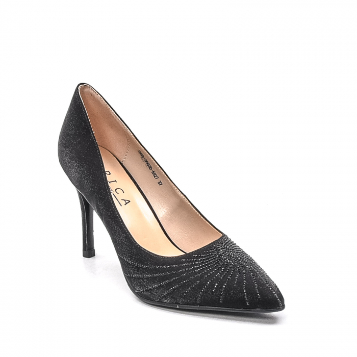 Pantofi dama eleganti Wedding din piele naturala, Ep B01568-3603D-A827, negru 0
