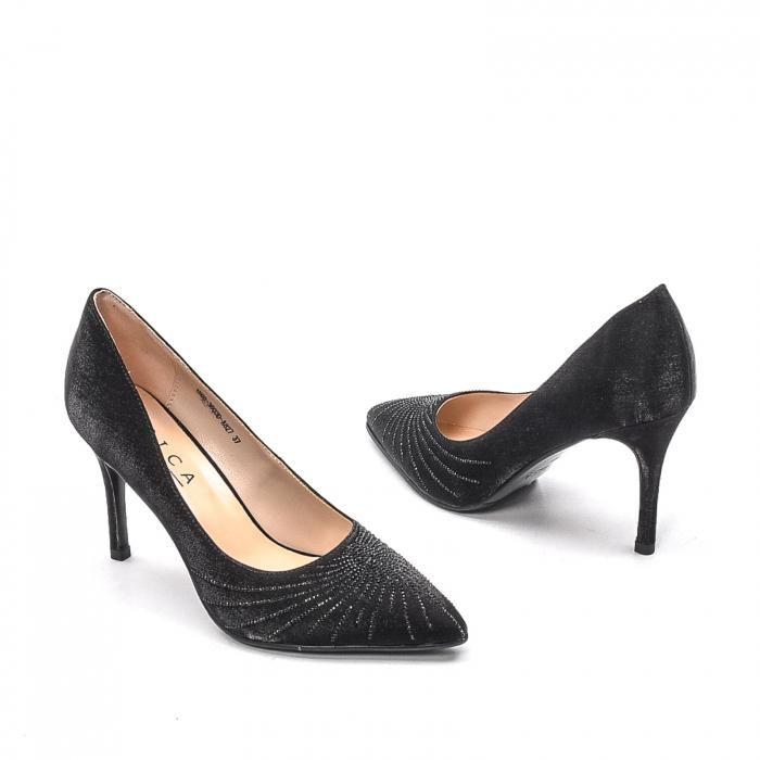 Pantofi dama eleganti Wedding din piele naturala, Ep B01568-3603D-A827, negru 2