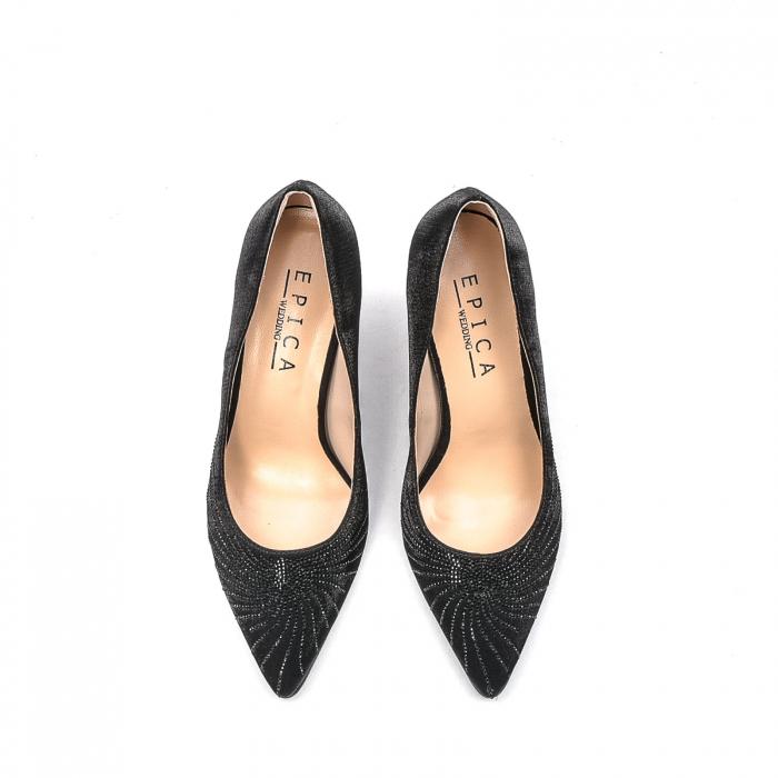 Pantofi dama eleganti Wedding din piele naturala, Ep B01568-3603D-A827, negru 5