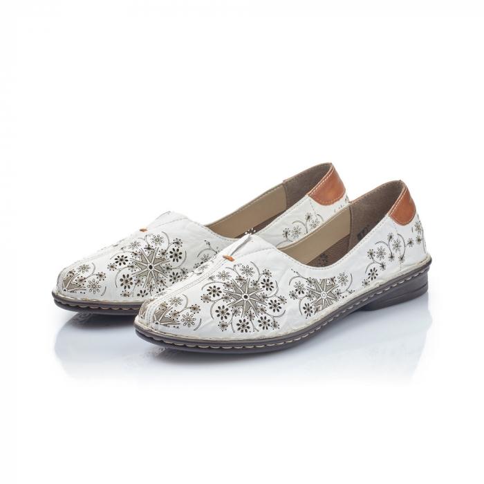Pantofi vara femei, piele naturala, Rieker 48456-80, alb 1