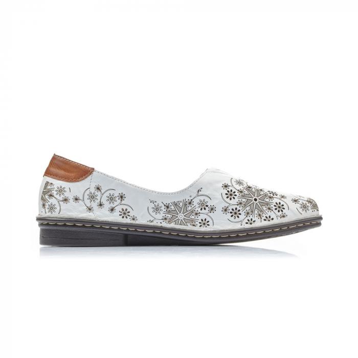 Pantofi vara femei, piele naturala, Rieker 48456-80, alb 2