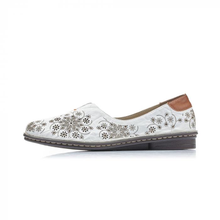 Pantofi vara femei, piele naturala, Rieker 48456-80, alb 3