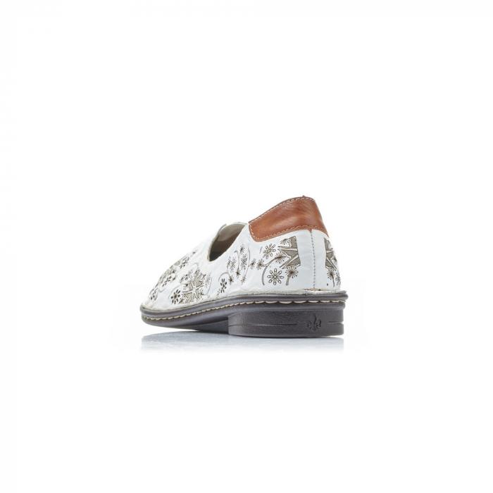 Pantofi vara femei, piele naturala, Rieker 48456-80, alb 5