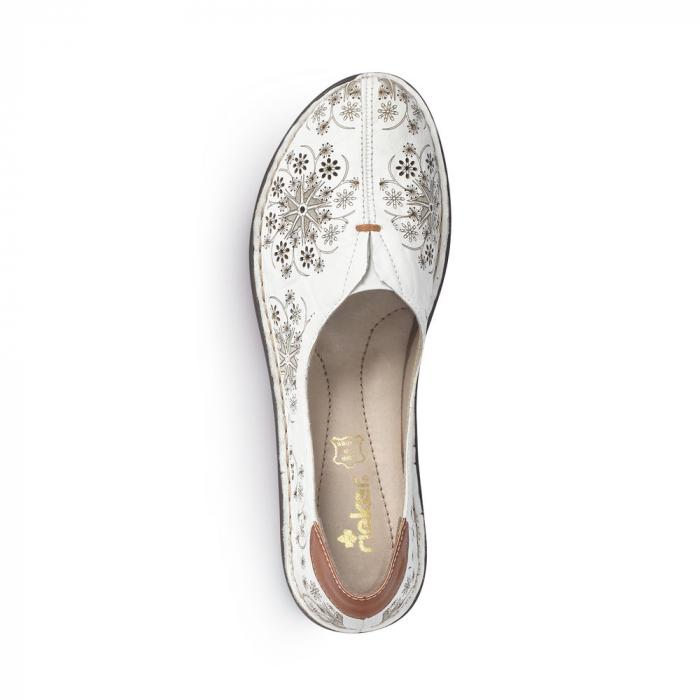 Pantofi vara femei, piele naturala, Rieker 48456-80, alb 6