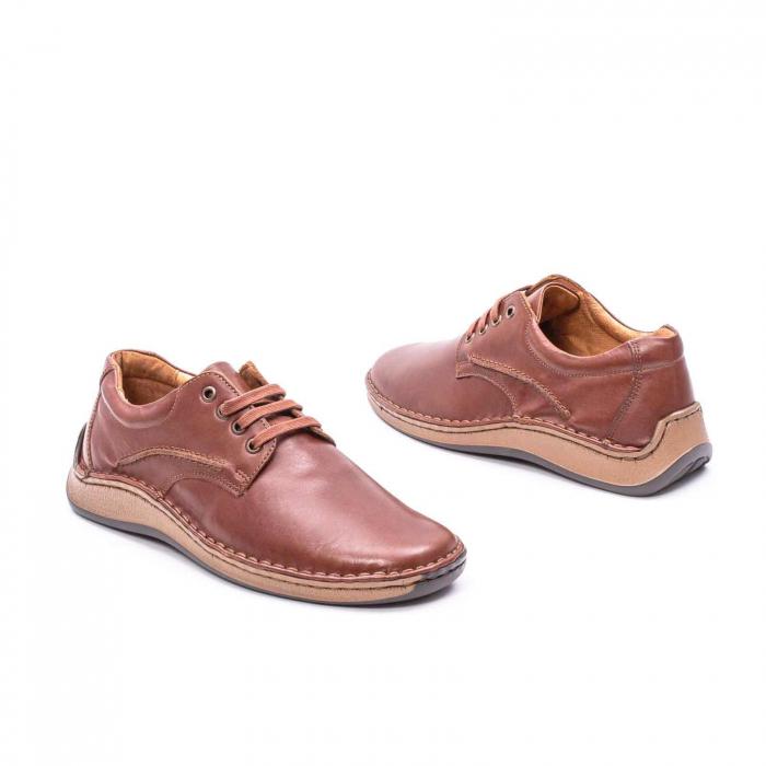 Pantofi Leofex 918 casual barbat piele naturala, maro 2