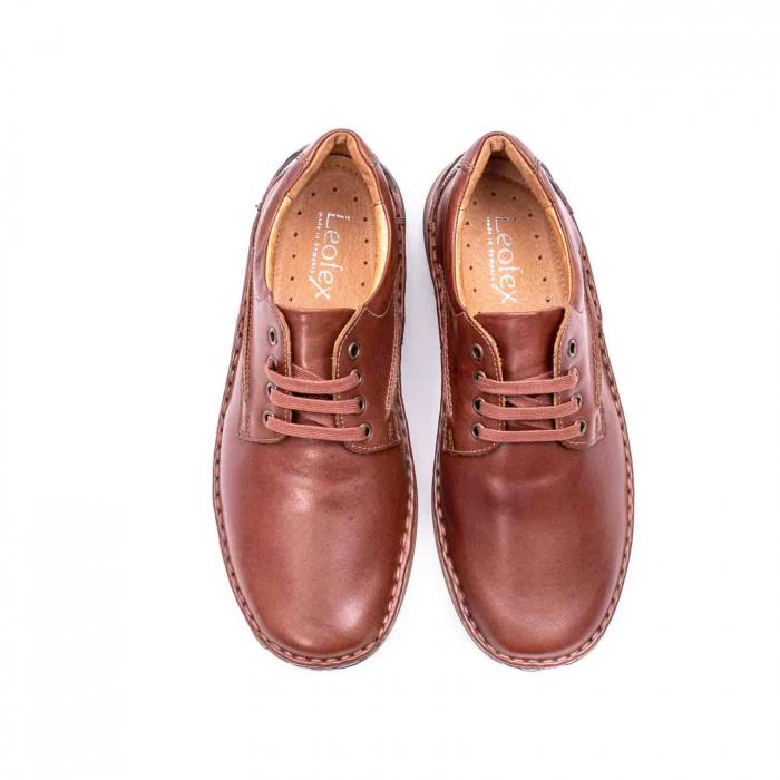 Pantofi Leofex 918 casual barbat piele naturala, maro 5