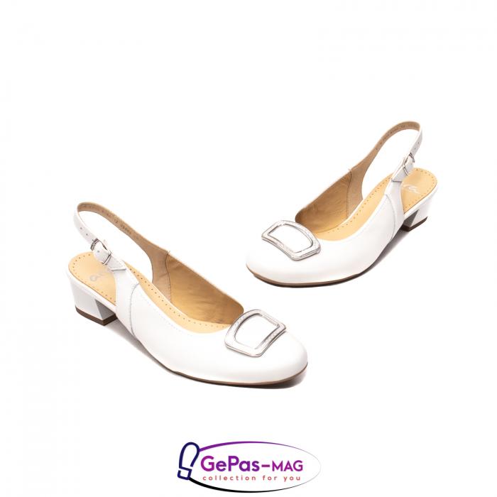 Pantofi piele decupati, AR35865, Alb 1