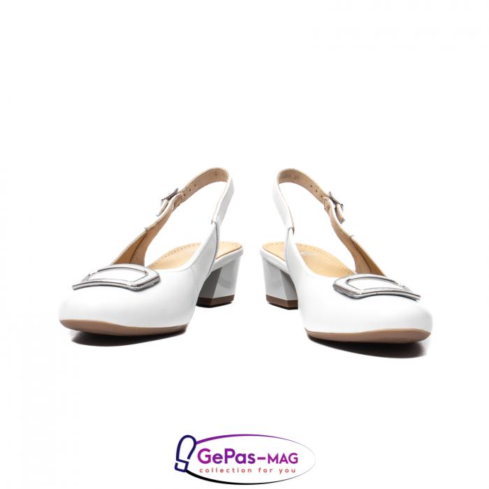 Pantofi piele decupati, AR35865, Alb 4