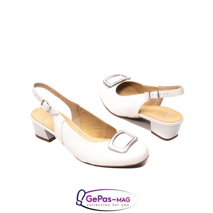 Pantofi piele decupati, AR35865, Alb 2