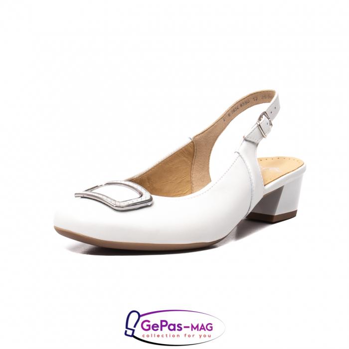 Pantofi piele decupati, AR35865, Alb 0
