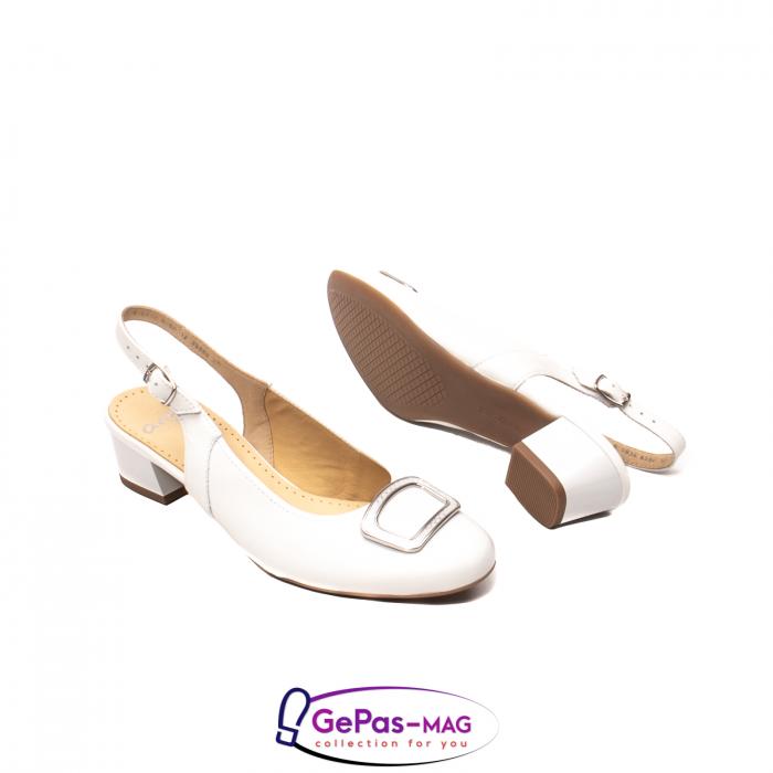 Pantofi piele decupati, AR35865, Alb 3