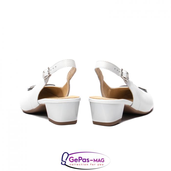 Pantofi piele decupati, AR35865, Alb 6